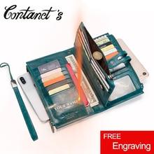 Contacts billeteras de piel auténtica para mujer, monedero con cremallera, bolso de mano tipo monedero largo para teléfono móvil, gran capacidad