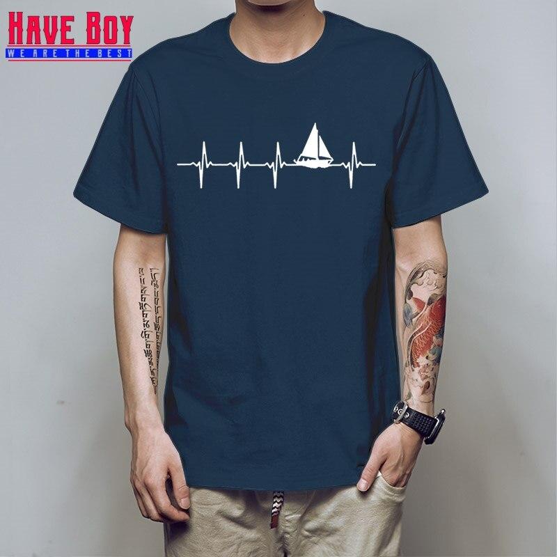 HAVE BOY Customized Anti-Wrinkle T-Shirt Man Sail Heartbeat Tshirt For Men Funny Casual Men T Shirt Original Cute HB544