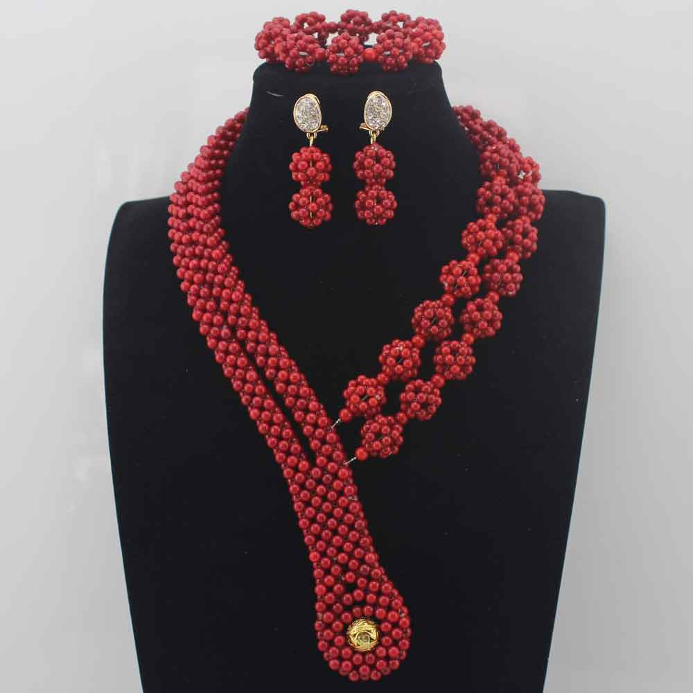 New Genuine Coral Beads Necklace Jewelry Nigerian Wedding African Coral Beads Jewelry Set Red Coral Beads Set Free Ship W13941New Genuine Coral Beads Necklace Jewelry Nigerian Wedding African Coral Beads Jewelry Set Red Coral Beads Set Free Ship W13941