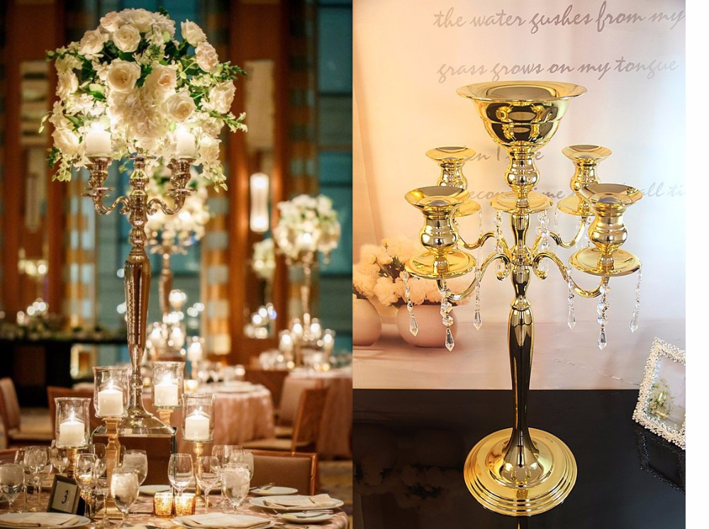 H75cm * W48cm, 5 Arms Gold Metall Candelabra Candle Holder