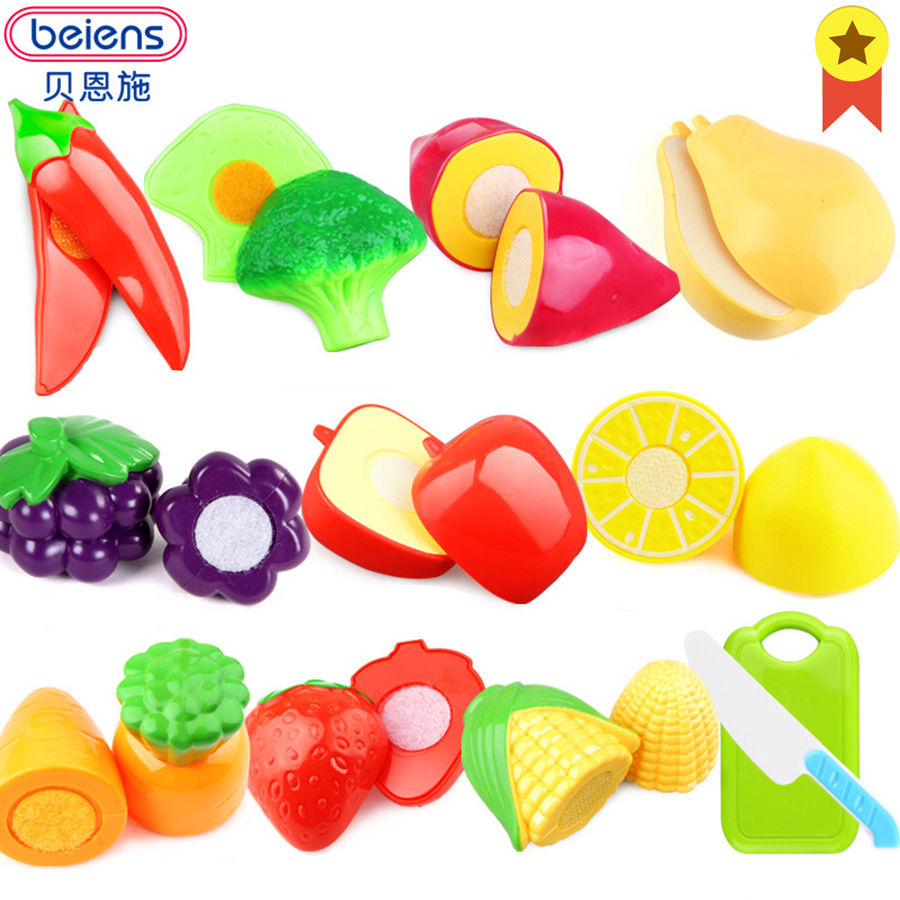 Beiens Kitchen Toys Baby Plastic Fruit Kids Pretend Play Cutting Vegetables And Fruits 12pcs Cooking Food Toy Set For Children 12pcs plastic kitchen pretend play toys cutting fruit vegetable food basket children role play educational kitchen toys for kids