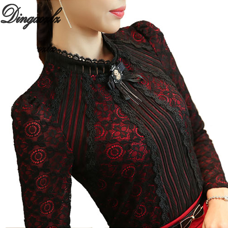 Dingaozlz Royal Elegant Women skjorte 2018 Spring Fashion Ladies Bluse Bluse Plus Size Kvinne Blonder Topper Nytt merke Dameklær