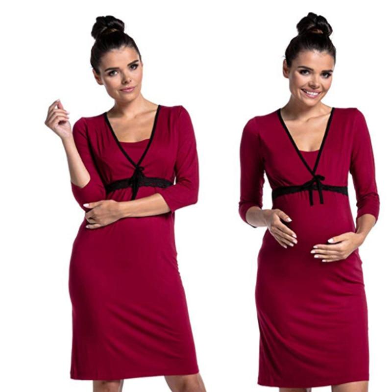 European American Fashion Lace Stitching Deep V-neck Breastfeeding Breastfeeding Dress Pregnant Women Care Clothes