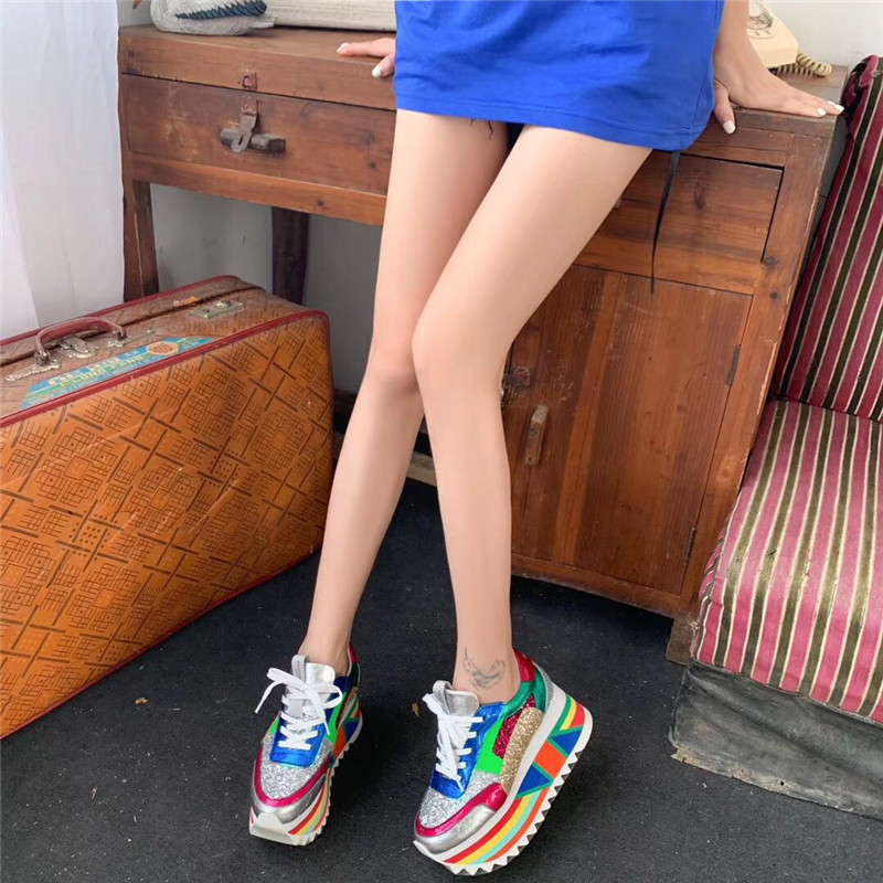 Prova Perfetto New BlingBling Sequins Platform Sneakers Women Mixed Color Lace Up Colour Thick Bottom Shoes Woman Leisure Shoes