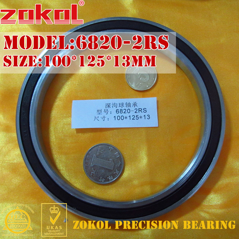 ZOKOL 6820 RS Bearing 6820 2RS 1000820 61820 6820-2RS Deep Groove Ball Bearing 100*125*13mm
