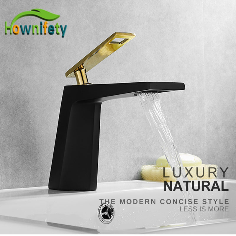 Hollow Type Bath Waterfall Faucets Hot Cold Basin Mixer Sink Tap Bathroom Crane White Golden Natural