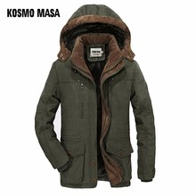 KOSMO MASA Green Thick Long Jacket Men Parka Coats 2018 Winter Jackets Mens Cotton Hooded Casual Warm Down Parkas 6XL MP032