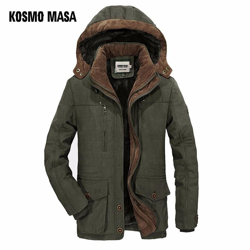 KOSMO MASA Green Thick Long Jacket Men   Parka   Coats 2018 Winter Jackets Mens Cotton Hooded Casual Warm Down   Parkas   6XL MP032