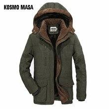 KOSMO MASA Yeşil Kalın Uzun Ceket Erkekler Parka Mont 2018 kışlık ceketler Erkek Pamuklu Kapşonlu Rahat Sıcak Aşağı Parkas 6XL MP032