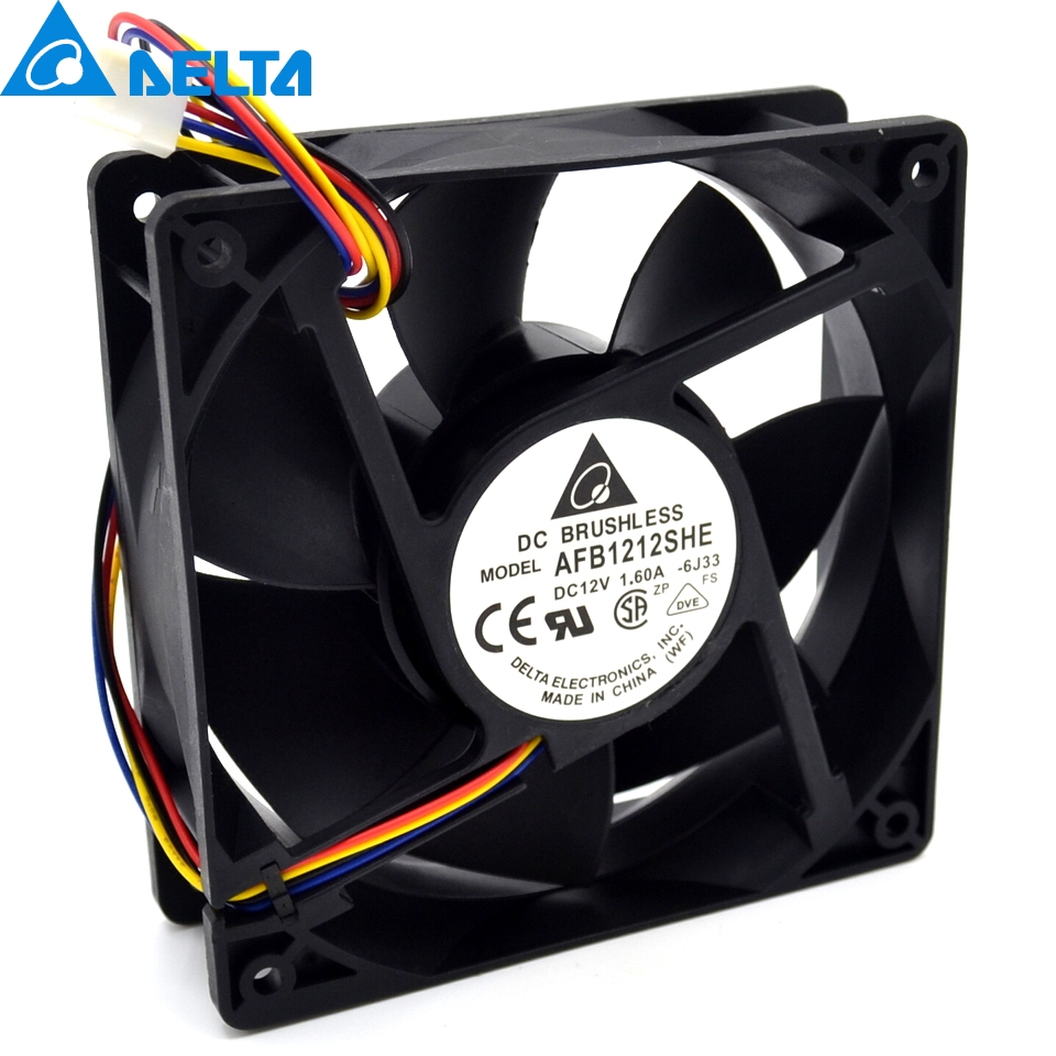 New AFB1212SHE 12038 12cm 1.6A 12v 4wire PWM 40cm long line of fan for Delta 120*120*38mm cooling fan replacement d12bm 12d 4 pin connector pwm 12038 12v 2 3a 6000rpm for antminer bitmain s7 s9 useful