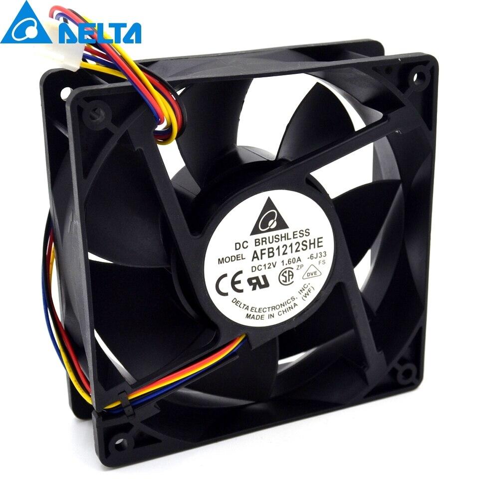 Nueva AFB1212SHE 12038 12 cm 1.6A 12 V 4 PWM 40 cm larga línea de ventilador para Delta 120 * 120*38mm