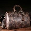 Alta Calidad Crazy Horse de Cuero Genuino Bolso De Viaje de fin de Semana duffle Large Duffel Bolsa de Equipaje Del Vintage Retro de cuero de Vaca bolso de mano 9045