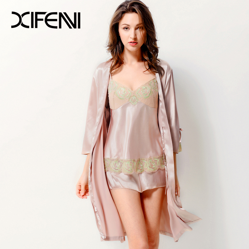 Xifenni Pajamas Satin Silk Sleepwear Women Summer Pyjama Sets Faux Silk Three-Piece Shorts Robe Tops With Sponge Chest Pad 3701