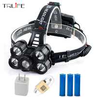 USB Rechargeable 5 XML T6 LED Headlight 35000 Lumen Headlamp Telescopic Zoom Flashlight Fishing Light Outdoor