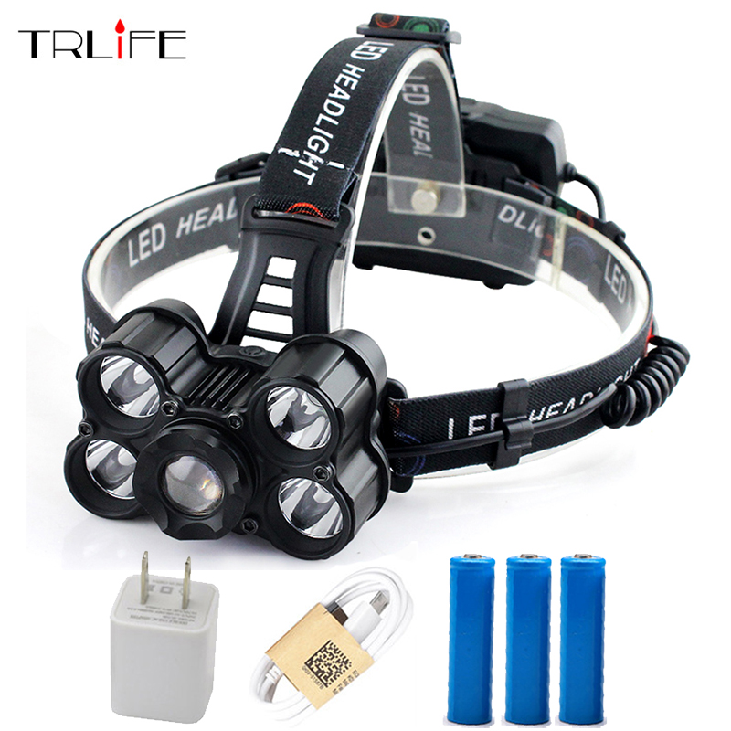 все цены на USB Rechargeable 5 T6 LED Headlight 35000 Lumen Headlamp Telescopic Zoom Flashlight Fishing Light Outdoor Light