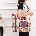 Women New Fashion Owl Printed Cute Handbags Female Catoon Canvas Shoulder Bag Ladies Book Bag Large Shopping Totes Purse Dec23