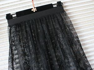 Image 4 - ホット夏の女性のスカートのファッション固体カジュアルメッシュチュールスカート中空アウト鉛筆エレガントな弾性黒、白のスカート d6