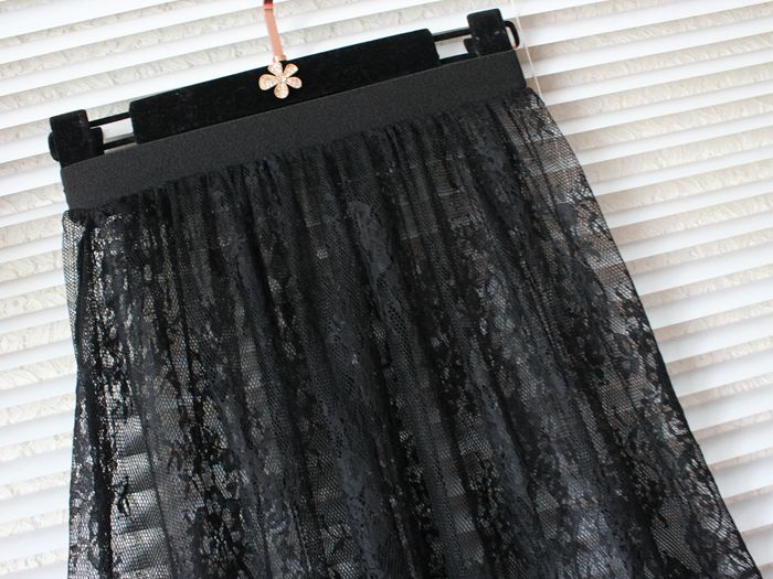 Image 4 - hot Summer Women Lace Skirts  Fashion Solid Casual Mesh tulle skirt Hollow Out short Pencil Elegant elastic Black White Skirt D6-in Skirts from Women's Clothing