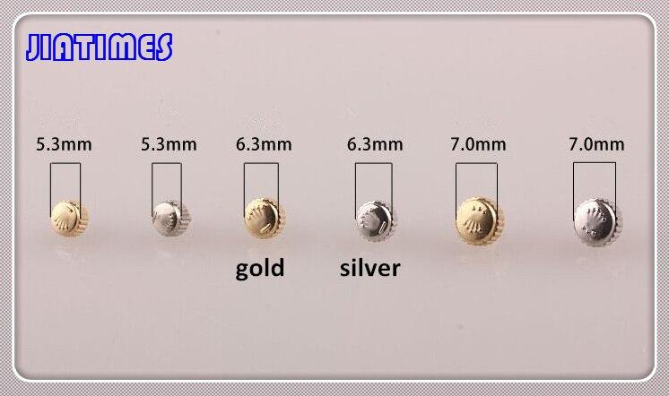 무료 배송 1 pc 대형 튜브 스테인레스 스틸 골드 방수 시계 크라운과 튜브 시계 수리