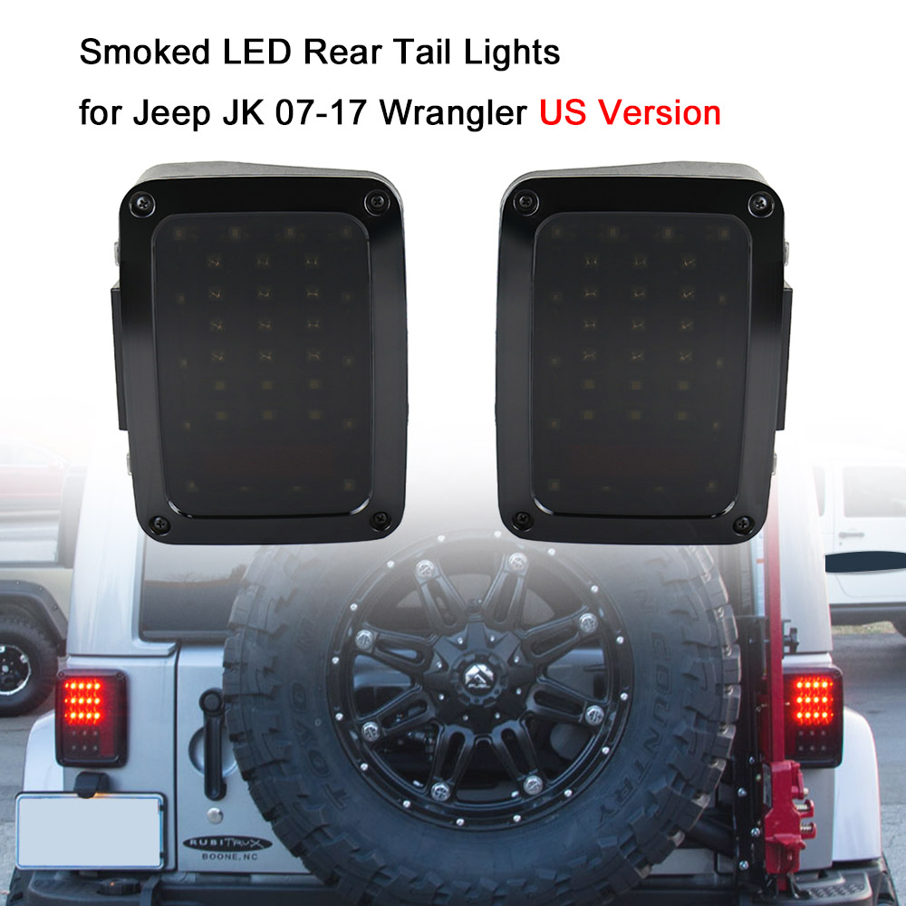 Pair of Smoked LED Rear Tail Lights Brake Reverse Lamps for Jeep JK 07-17 Wrangler US Version Tail lamp Car Light Replacement 2 pcs led rear lights us europe version brake reverse tail lamps for atv 4x4 truck off road automobile auto for jeep wrangler