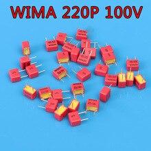 10 יחידות WIMA 220pF 100 v FKP2 221/n22/220 p גרמנית HiFi אודיו חום קבלים צימוד קבלים משלוח חינם