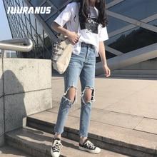 IUURANUS Woman Jeans Fashion Casual Loose Hole Denim Trousers sexy Blue ripped Female Spring Summer Autumn