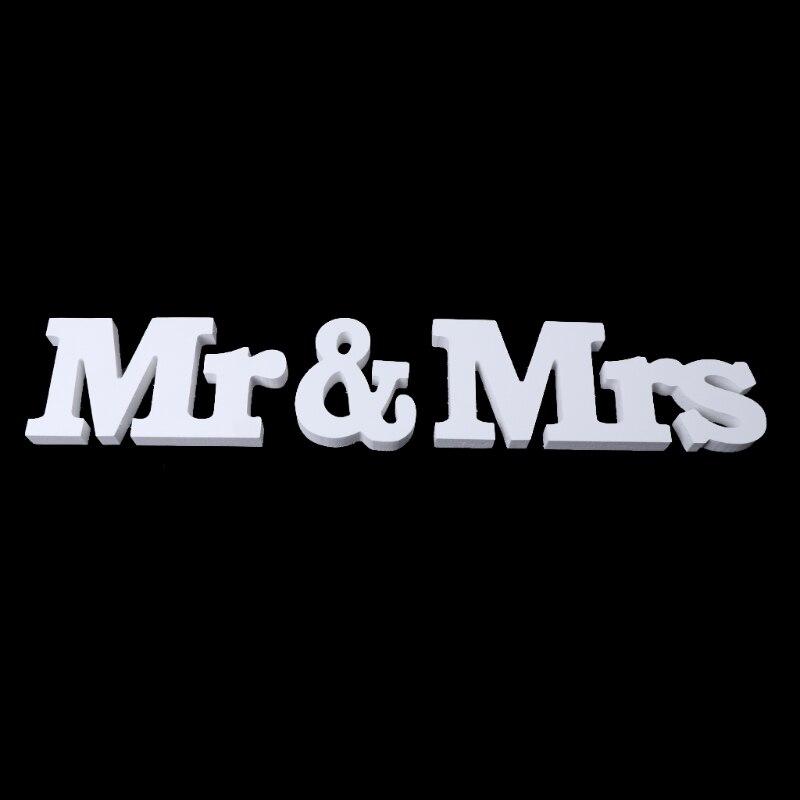 Свадебные украшения Mr & Mrs белые деревянные буквы знак для милая Таблица Декор