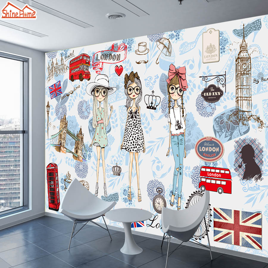 ShineHome-Modern Custom 3D Wallpaper European City London Fashion Girl Wallpapers for 3 d Living Room Bar TV Cafe Wall Paper shinehome abstract brick black white polygons background wallpapers rolls 3 d wallpaper for livingroom walls 3d room paper roll