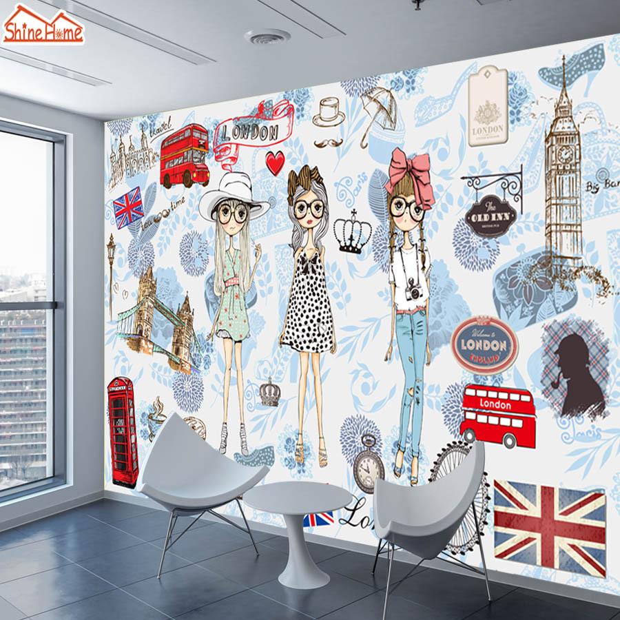 ShineHome-Modern Custom 3D Wallpaper European City London Fashion Girl Wallpapers For 3 D Living Room Bar TV Cafe Wall Paper