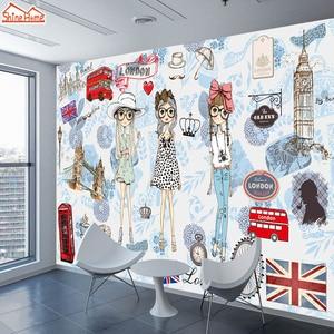 Image 1 - ShineHome Modern Custom 3D Wallpaper European City London Fashion Girl Wallpapers for 3 d Living Room Bar TV Cafe Wall Paper