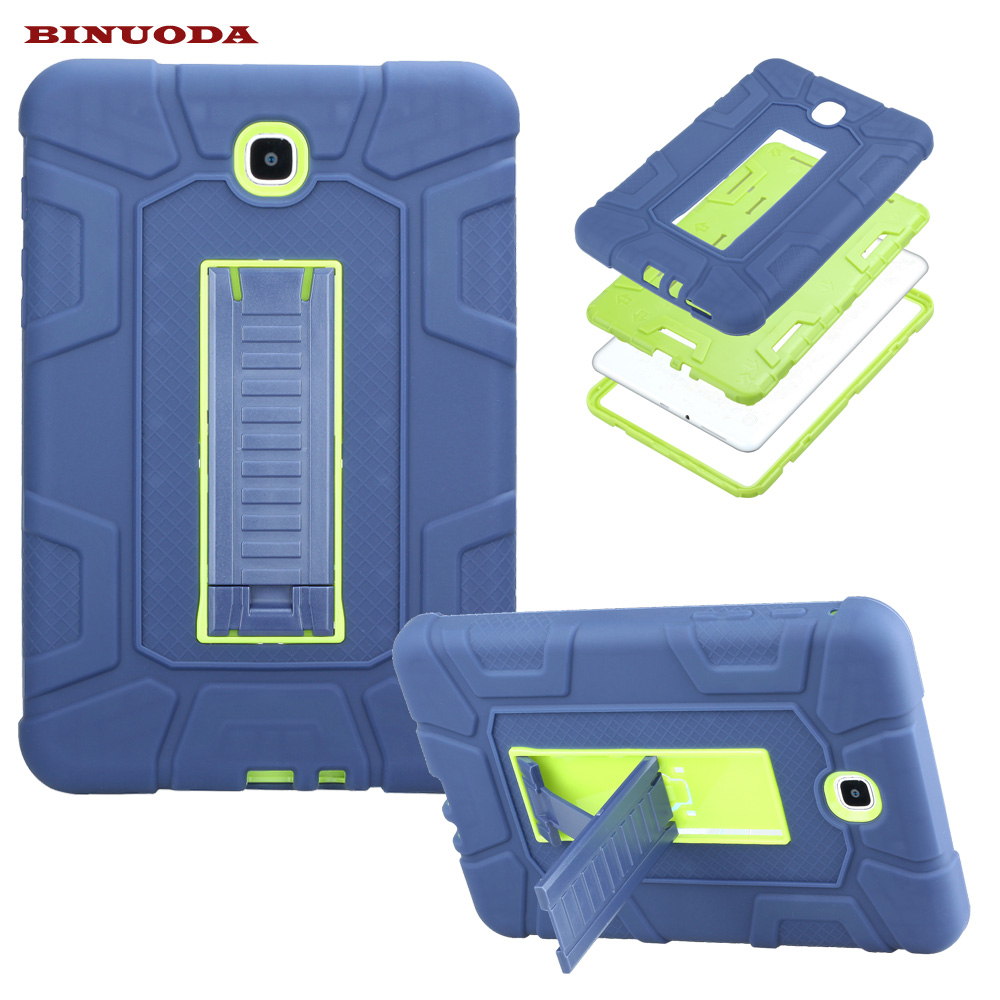 New For Galaxy Tab A 8.0 Cover Case Hybrid Rubber Plastic+Silicone Shockproof Case for Samsung Galaxy Tab A 8.0 SM-T355 SM-T350 metal ring holder combo phone bag luxury shockproof case for samsung galaxy note 8