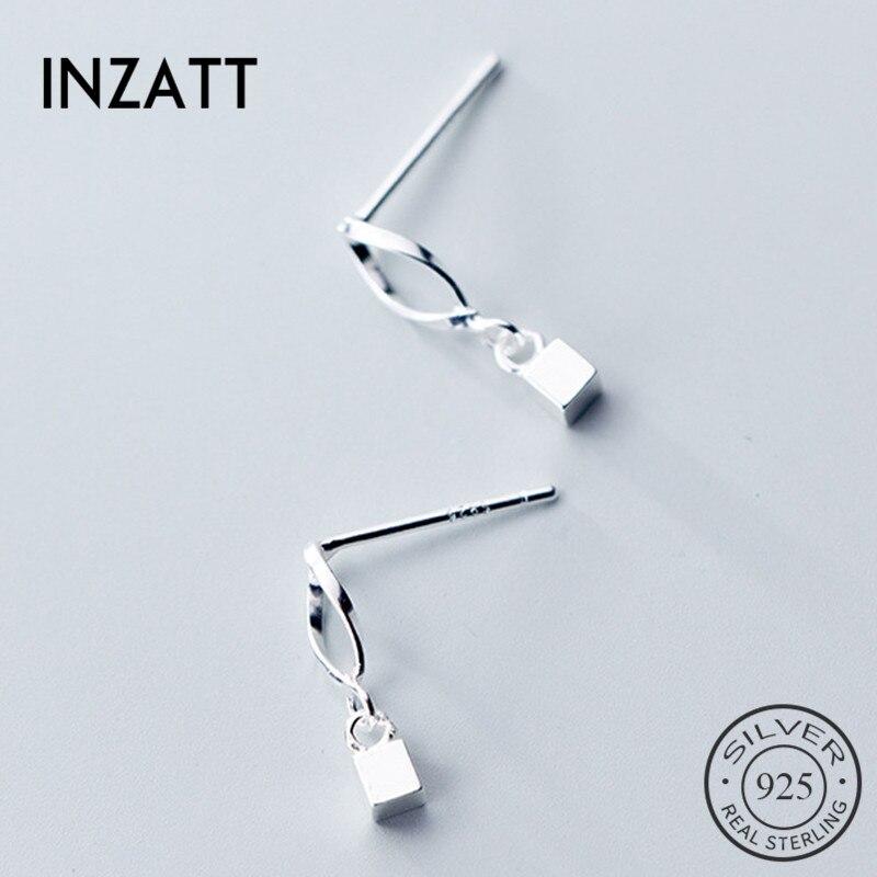 INZATT Real 925 Sterling Silver Minimalist Hollow Wave Square Stud Earrings For Fashion Women Fine Jewelry 2019 Accessories Gift