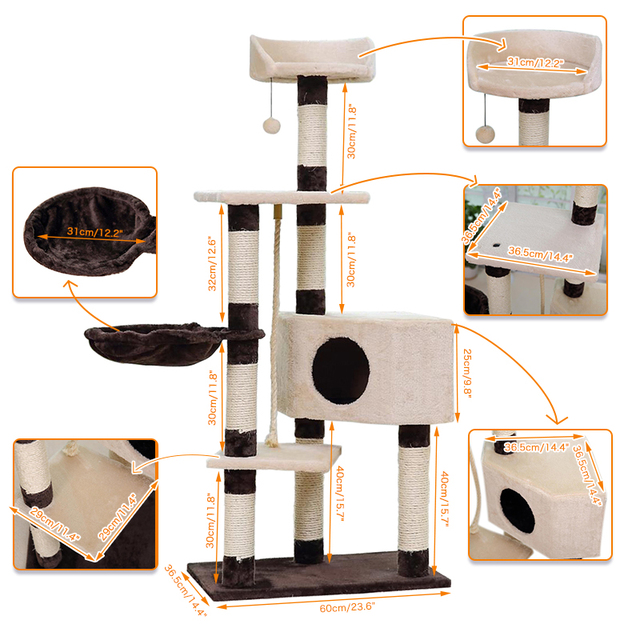 Greatly Selling Pet Climbing Toy Cat Kittens Climbing Tree Six Floors Stable and Comfortable Easily Assemble High Quality Funny