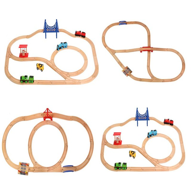 2019 Diecast DIY Usual Wooden Tracks Train Set Race Track Magic Brio Puzzles Educational Toys Wooden Railway Kids Toys Gifts