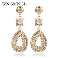 WNGMNGL Gold Silver Color Water Drop Earrings For Women Long Jewelry Brincos 2018 Rhinestones Dangle Bijoux
