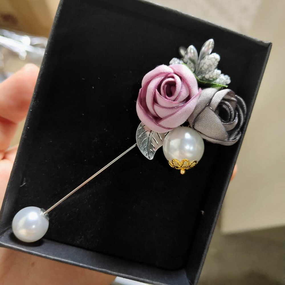RINHOO Ladies Cloth Art Pearl Fabric Flower Brooch Pin Cardigan Shirt Shawl Pin Professional Coat Badge Jewelry Accessories