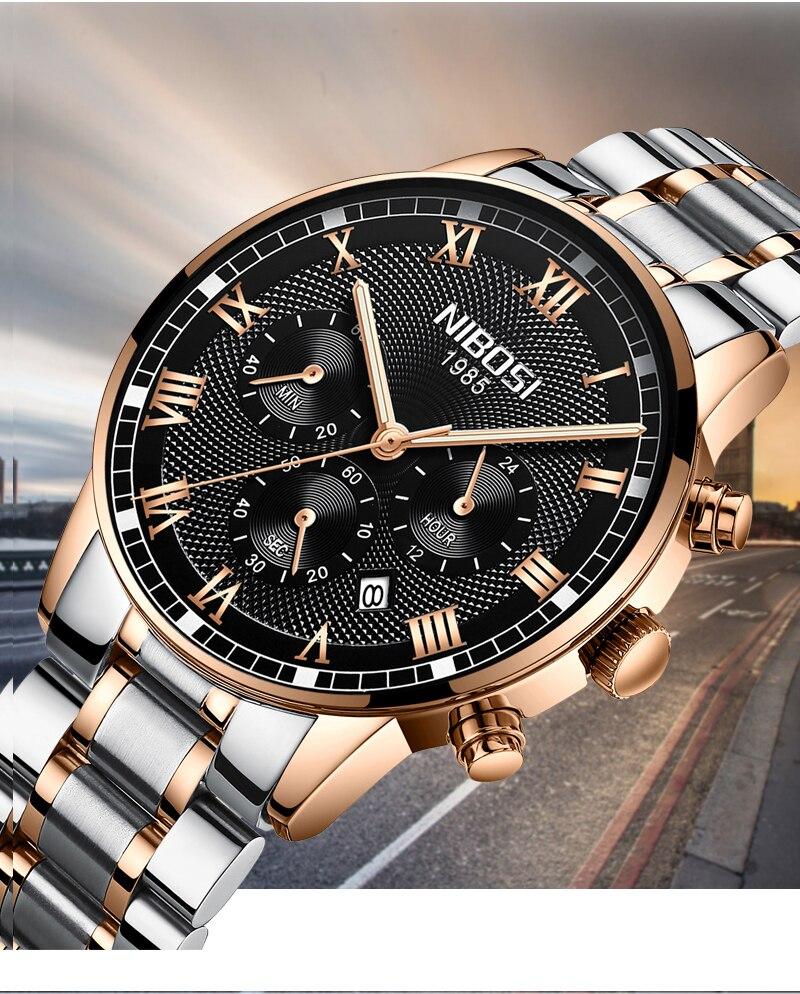 a26c6877f15 2018 NIBOSI Ouro Relógio De Quartzo Homens Top Marca De Luxo Relógios de  Moda Homem de Aço Inoxidável Relógios de Pulso Relogio masculino Saatler ...