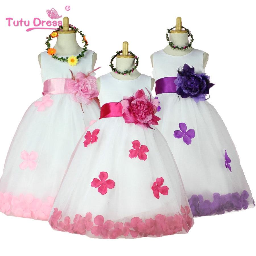 2016 Meninas Vestido Da Dama De Rosa Pétala Hem Bonito Vestido Tutu Da Princesa Conjuntos de Roupas Meninas Vestidos de Aniversário de Casamento