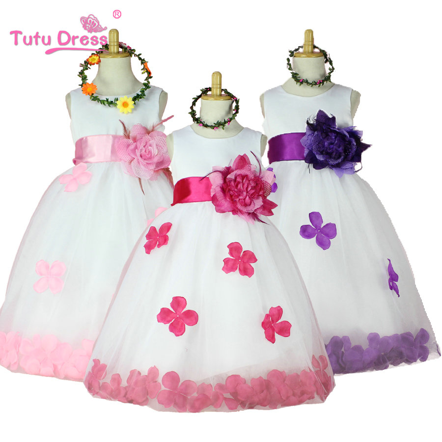 2017 Girls Rose Petal Hem Cute Princess Tutu Dress Girls Clothing Sets Wedding Birthday Vestidos Party Dress