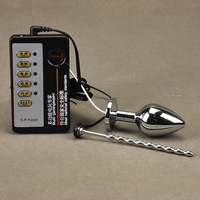 DIY Electric Shock Stainless Steel Anal Plug & Urethra Catheter Penis Plug Electro Shock Anal Plug Massagers Sex Toys For Men