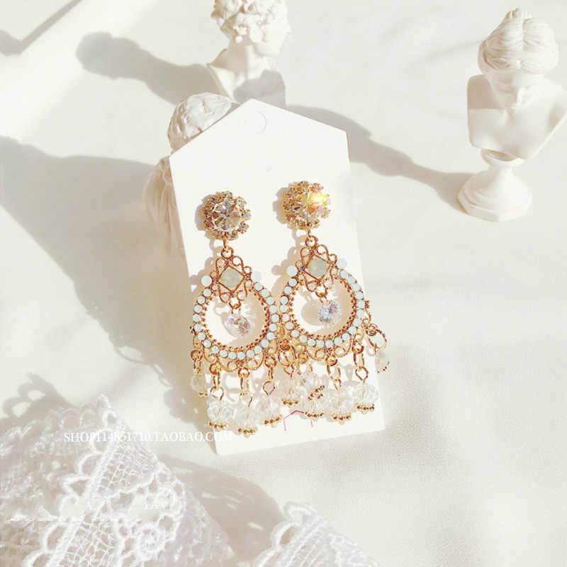 2019 New Arrival Fashion Metal Ethnic Water Drop Women Dangle Earrings Korean Jewelry For Female Gift Earrings In Drop
