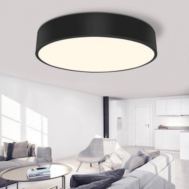 Round Living Room Bedroom Modern Office Lighting LED Pendant Lamp Black/  White Lighting Restaurant Study