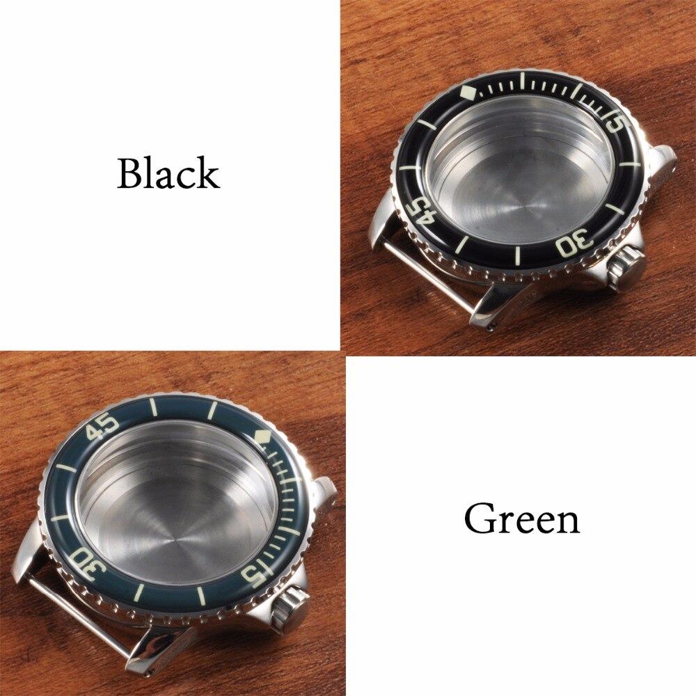 45mm corgeut safira vidro relógio habitação caso
