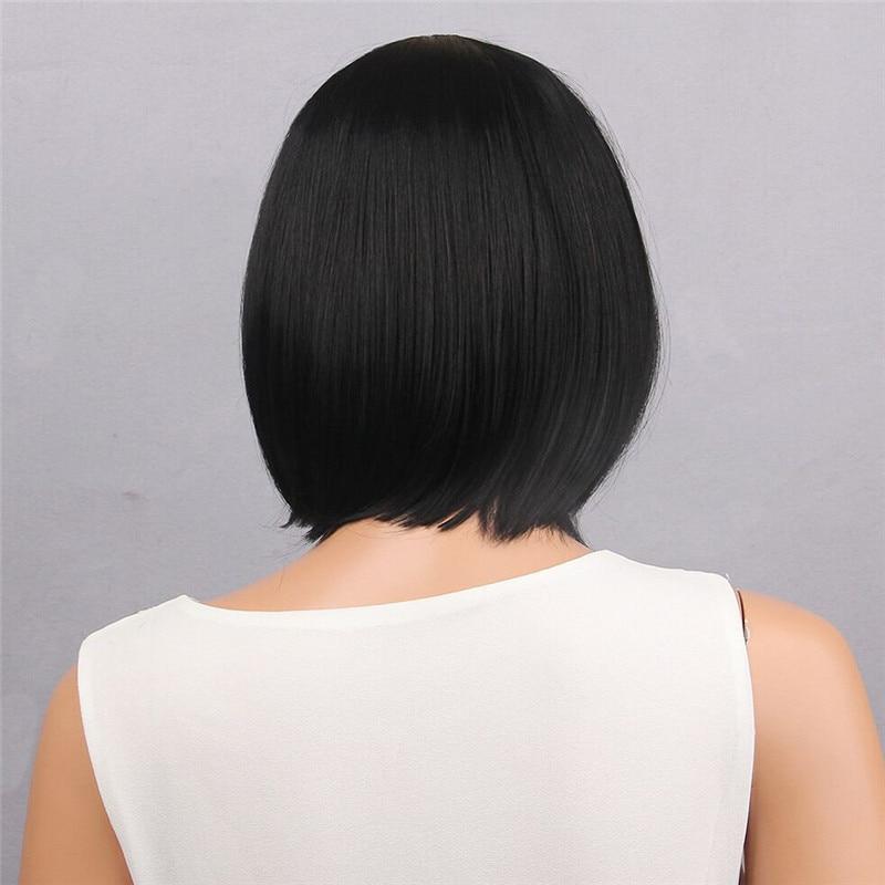 Wig Fashion Women's Natural Women Short Straight Full Bangs Bob Hairstyle Synthetic Hair Full wig dropship Jan23