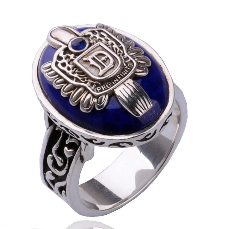 Le Vampire Diaries anneaux Damon et Stefan avec Lapis Lazuli bague en pierre Salvatore Elena Caroline Klaus bague hommes femmes bijoux