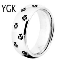 Free Shipping USA UK Canada Russia Brazil Hot Sales 8MM Silver Dome Pet's Paw Prints Men's New Tungsten Carbide Wedding Ring