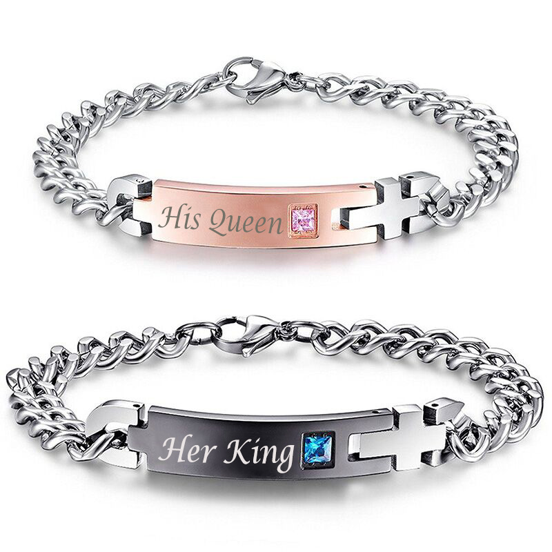 "HTB1IiDjPVXXXXbGaXXXq6xXFXXXH Stainless Steel ""His Queen"" And ""Her King "" Couple Bracelets Charm Set"