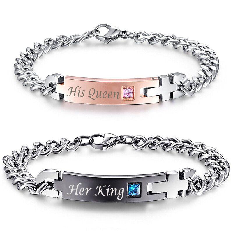 "HTB1IiDjPVXXXXbGaXXXq6xXFXXXH Stainless Steel ""His Queen"" And ""Her King "" Couple Bracelets Charm Set"