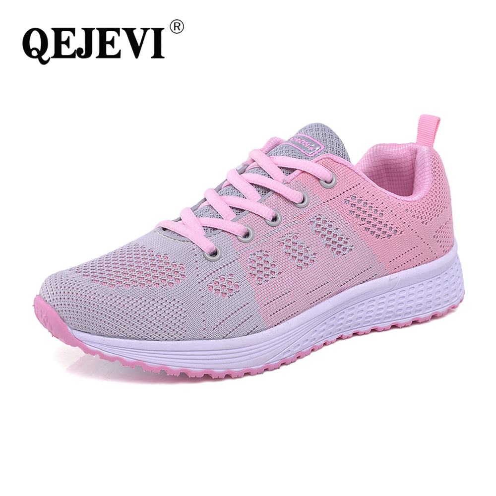 Black White Pink Cushioned Shoes QEJEVI School Style Women Sneakers Sports Running Sneakers Breathable Summer Athletic GYM Shoes