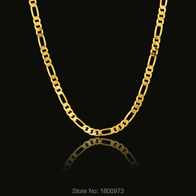 Vintage Figaro Gold Chain For Men Women 18inches 2 8 Grams Gold Color Necklace Free Shipping